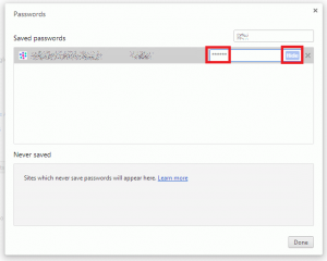 Google Chrome 34 Password Manager actually remembered STARS as password
