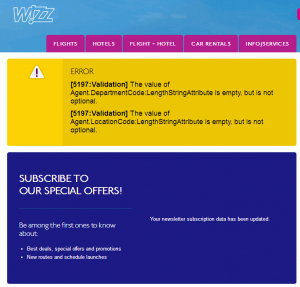Wizz Air Unsubscribe Error